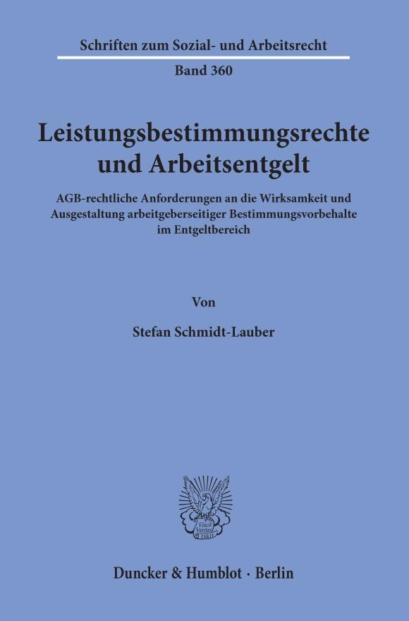 Cover Leistungsbestimmungsrechte und Arbeitsentgelt