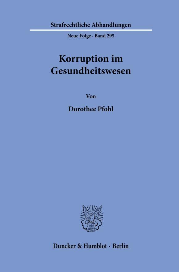 Cover Korruption im Gesundheitswesen