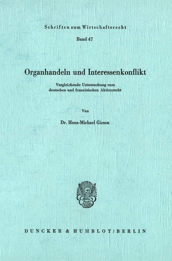 Cover Organhandeln und Interessenkonflikt