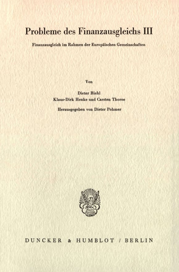 Cover Probleme des Finanzausgleichs III