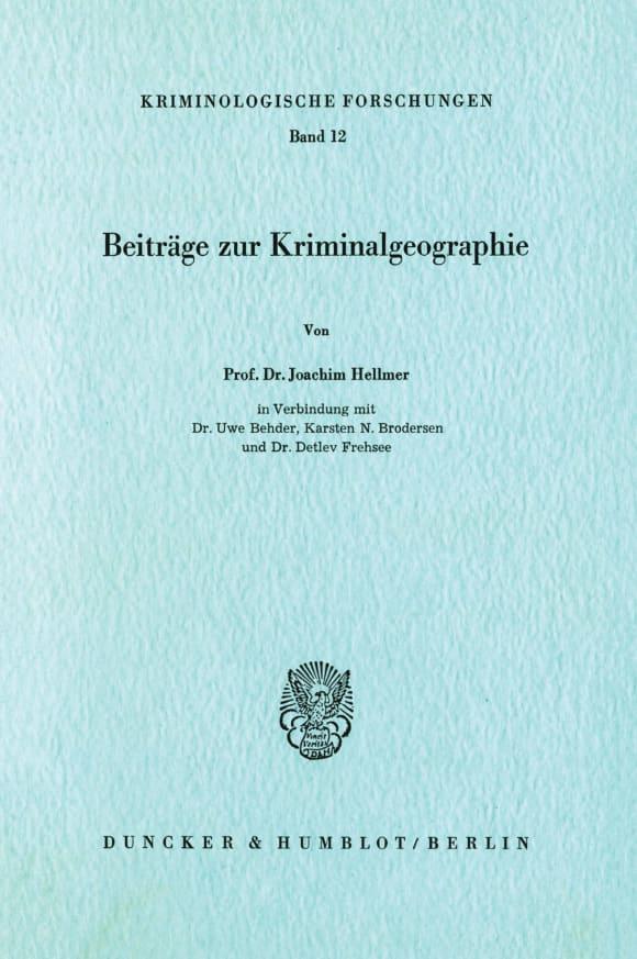 Cover Beiträge zur Kriminalgeographie