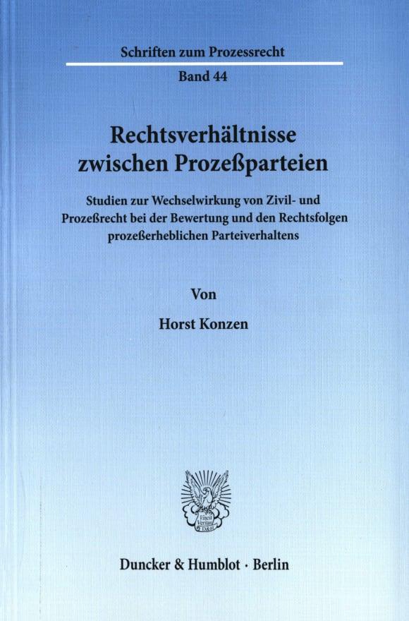 Cover Rechtsverhältnisse zwischen Prozeßparteien