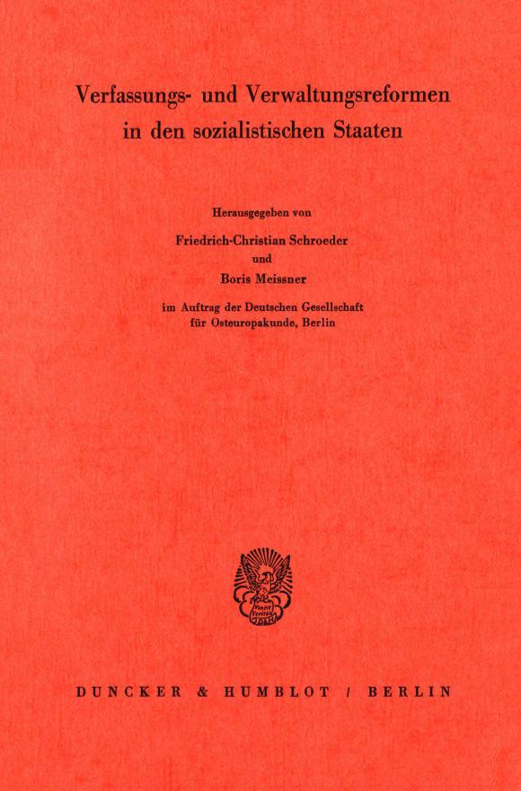 Cover Verfassungs- und Verwaltungsreformen in den sozialistischen Staaten