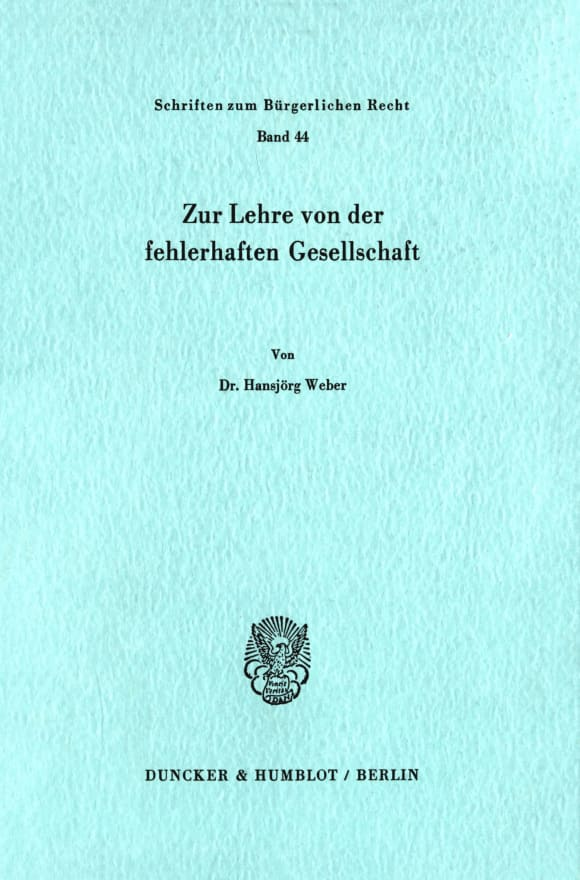 Cover Zur Lehre von der fehlerhaften Gesellschaft