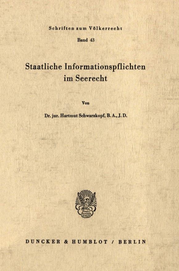 Cover Staatliche Informationspflichten im Seerecht