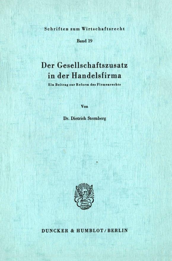 Cover Der Gesellschaftszusatz in der Handelsfirma