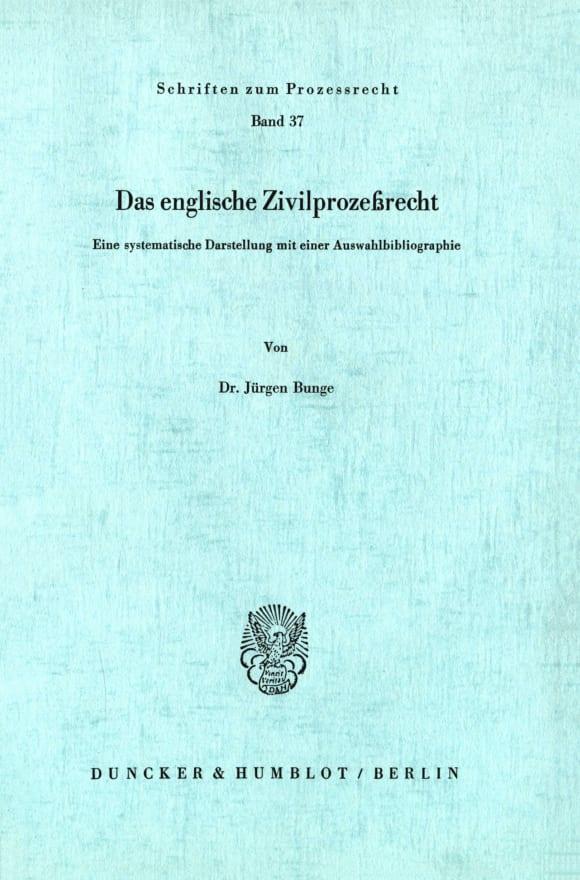 Cover Das englische Zivilprozeßrecht