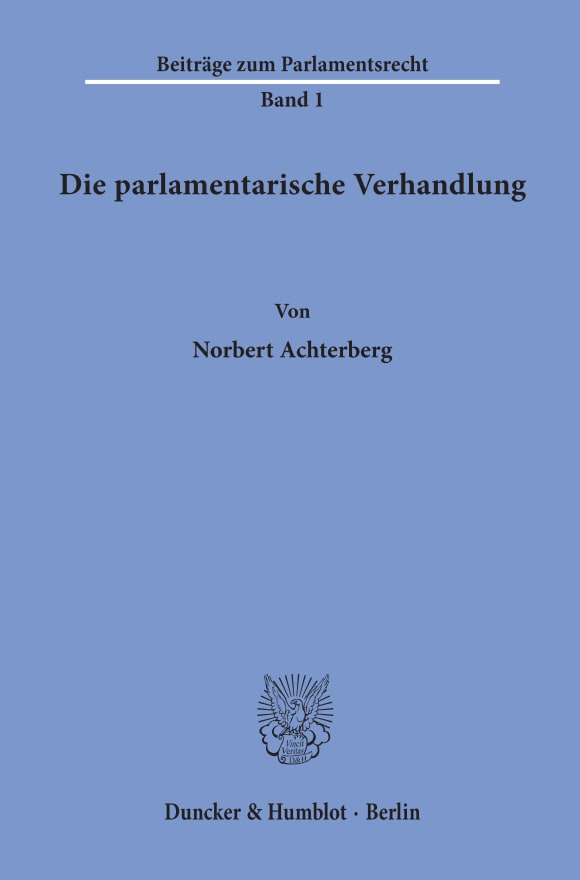Cover Die parlamentarische Verhandlung