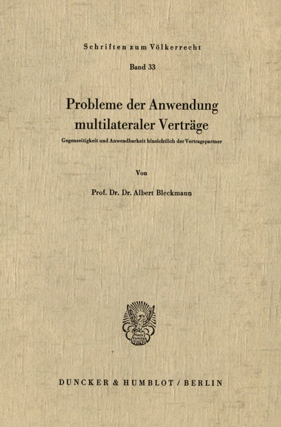 Cover Probleme der Anwendung multilateraler Verträge