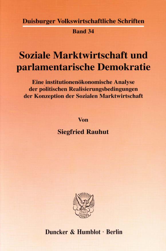 Cover Soziale Marktwirtschaft und parlamentarische Demokratie