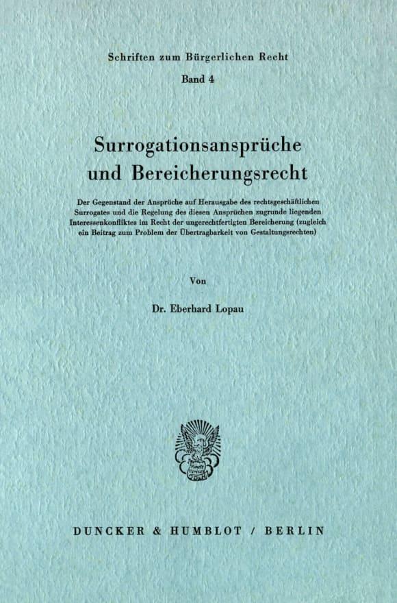 Cover Surrogationsansprüche und Bereicherungsrecht