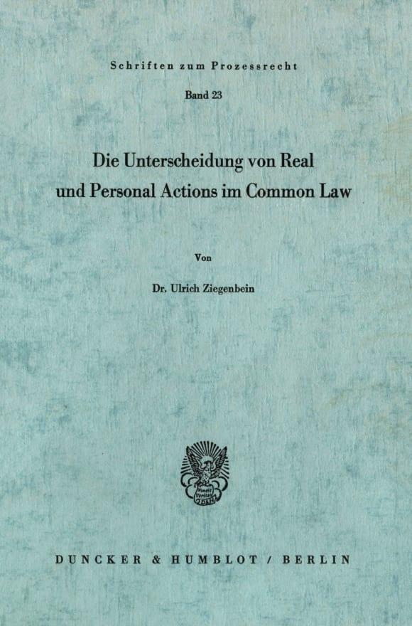 Cover Die Unterscheidung von Real und Personal Actions im Common Law