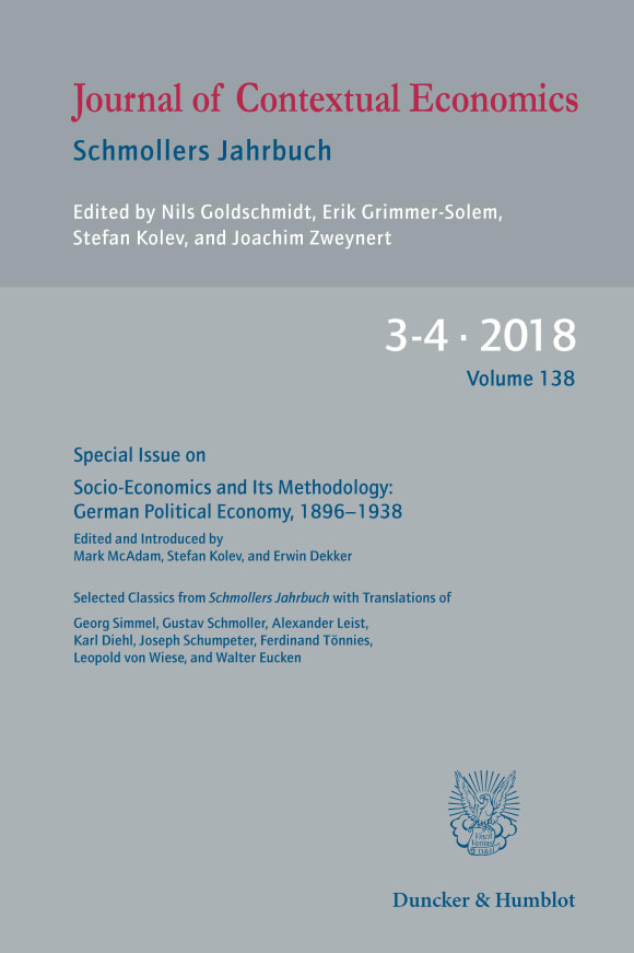 Cover Socio-Economics and Its Methodology: German Political Economy, 1896–1938
