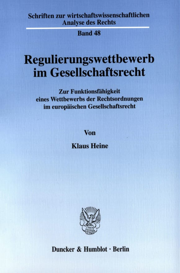 Cover Regulierungswettbewerb im Gesellschaftsrecht