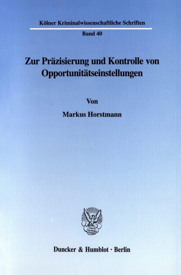 Cover Zur Präzisierung und Kontrolle von Opportunitätseinstellungen