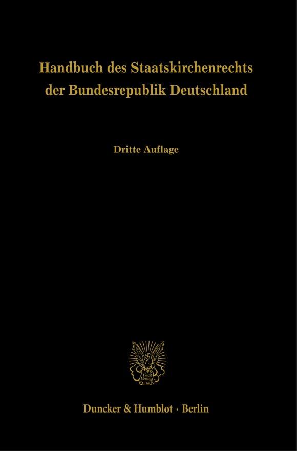 Cover Handbuch des Staatskirchenrechts der Bundesrepublik Deutschland