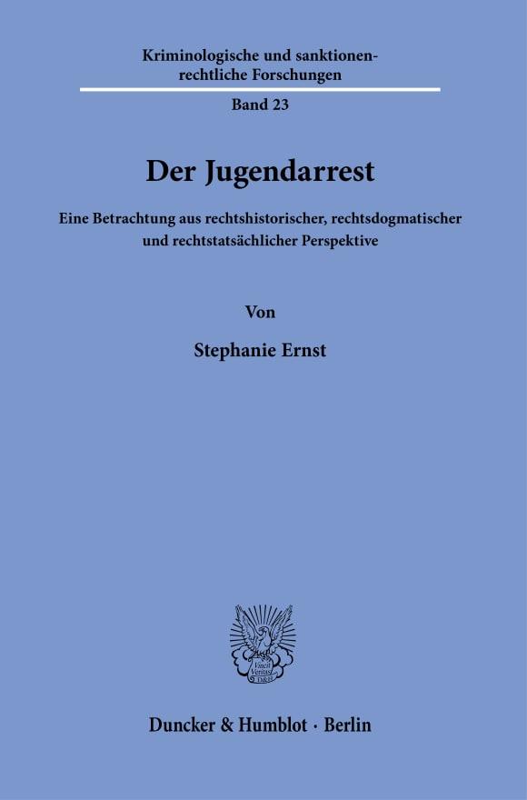 Cover Der Jugendarrest<br/>