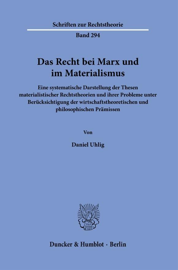 Cover Das Recht bei Marx und im Materialismus