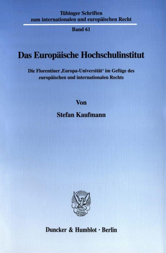 Cover Das Europäische Hochschulinstitut