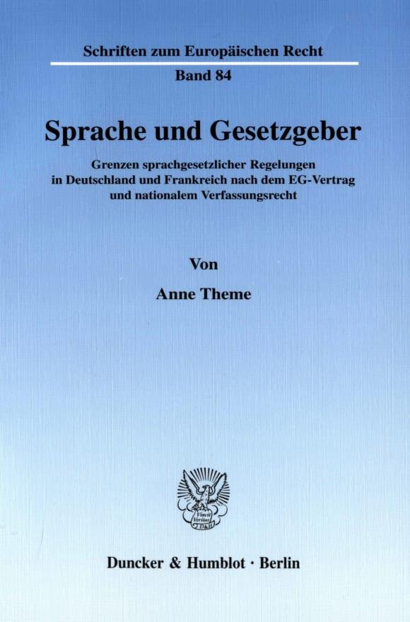 Cover Sprache und Gesetzgeber