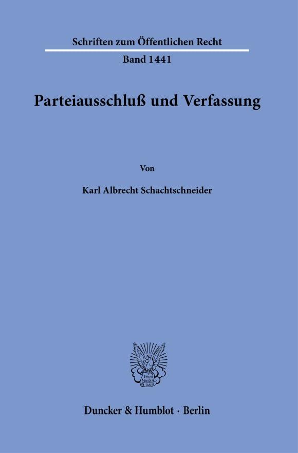 Cover Parteiausschluß und Verfassung