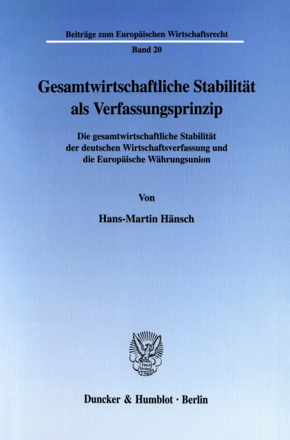 Cover Gesamtwirtschaftliche Stabilität als Verfassungsprinzip