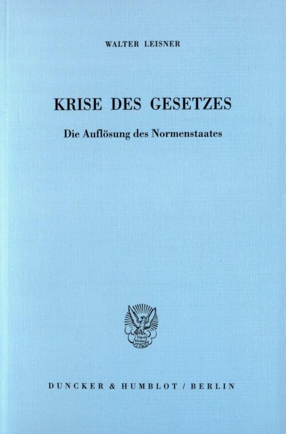 Cover Krise des Gesetzes