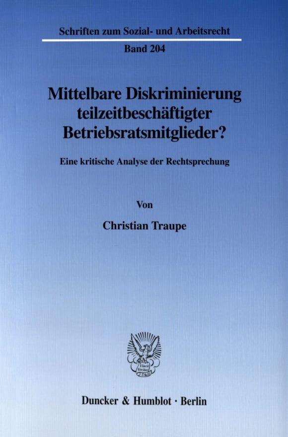 Cover Mittelbare Diskriminierung teilzeitbeschäftigter Betriebsratsmitglieder?