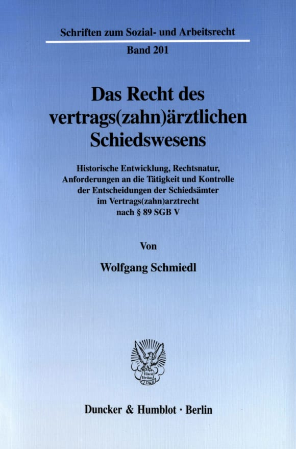 Cover Das Recht des vertrags(zahn)ärztlichen Schiedswesens