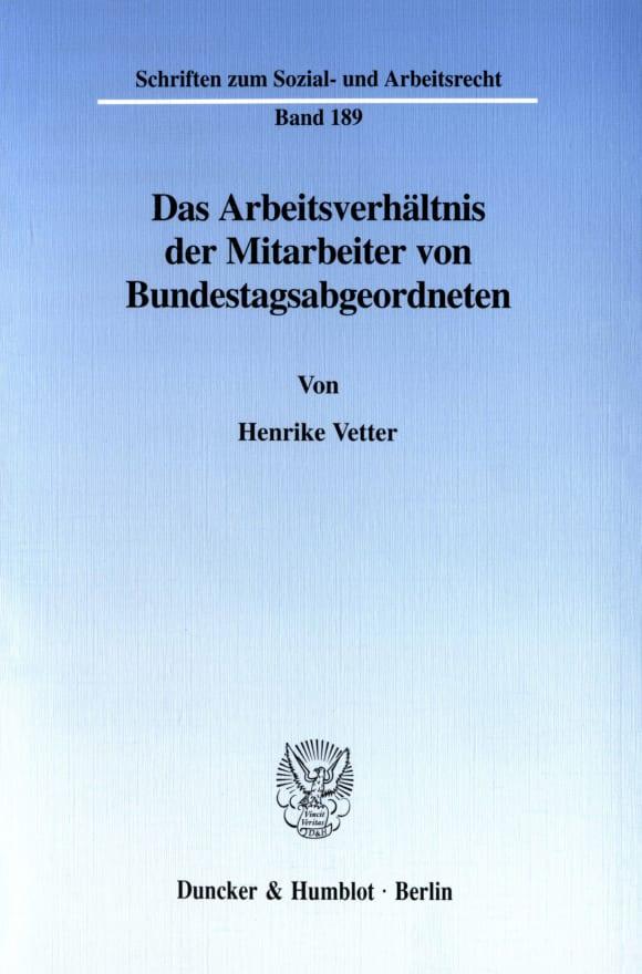 Cover Das Arbeitsverhältnis der Mitarbeiter von Bundestagsabgeordneten
