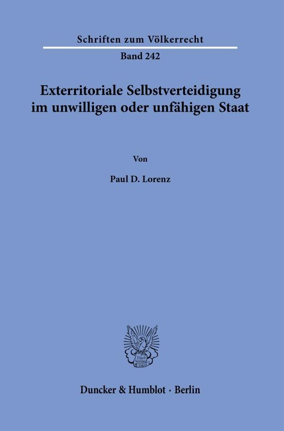 Cover Exterritoriale Selbstverteidigung im unwilligen oder unfähigen Staat