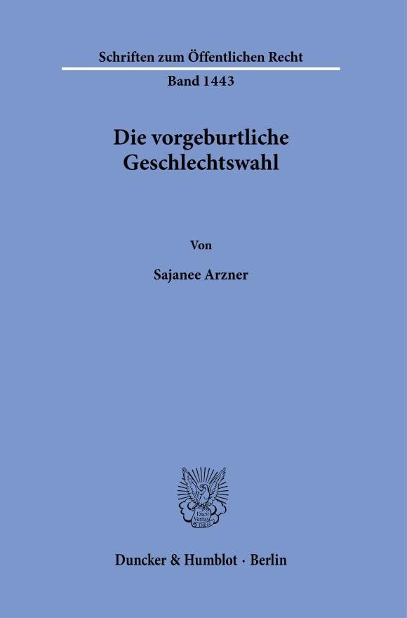 Cover Die vorgeburtliche Geschlechtswahl