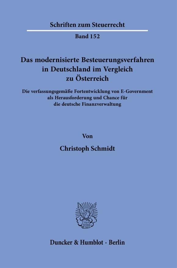 Cover Das modernisierte Besteuerungsverfahren in Deutschland im Vergleich zu Österreich