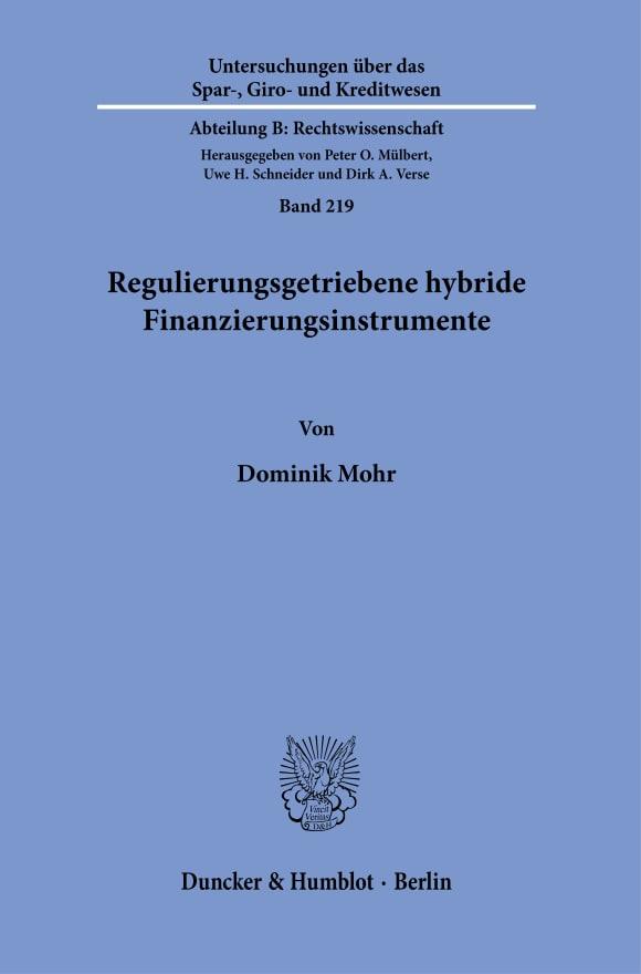 Cover Regulierungsgetriebene hybride Finanzierungsinstrumente