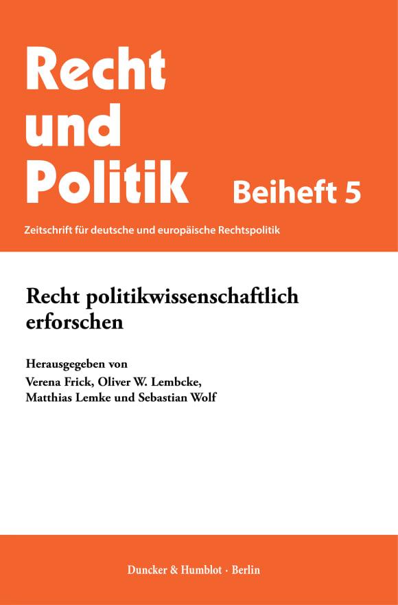 Cover Recht politikwissenschaftlich erforschen