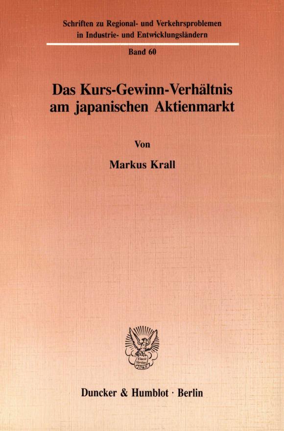 Cover Das Kurs-Gewinn-Verhältnis am japanischen Aktienmarkt