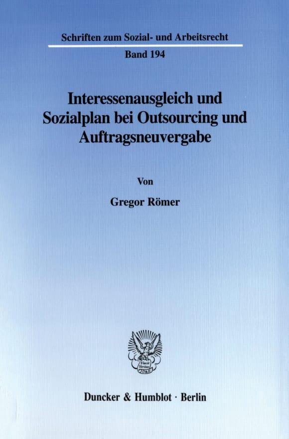Cover Interessenausgleich und Sozialplan bei Outsourcing und Auftragsneuvergabe