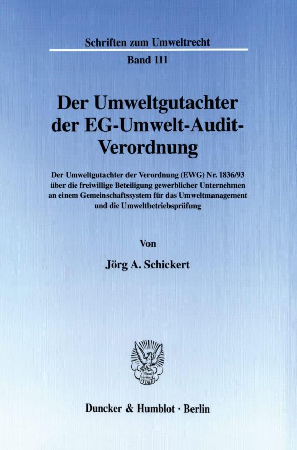 Cover Der Umweltgutachter der EG-Umwelt-Audit-Verordnung