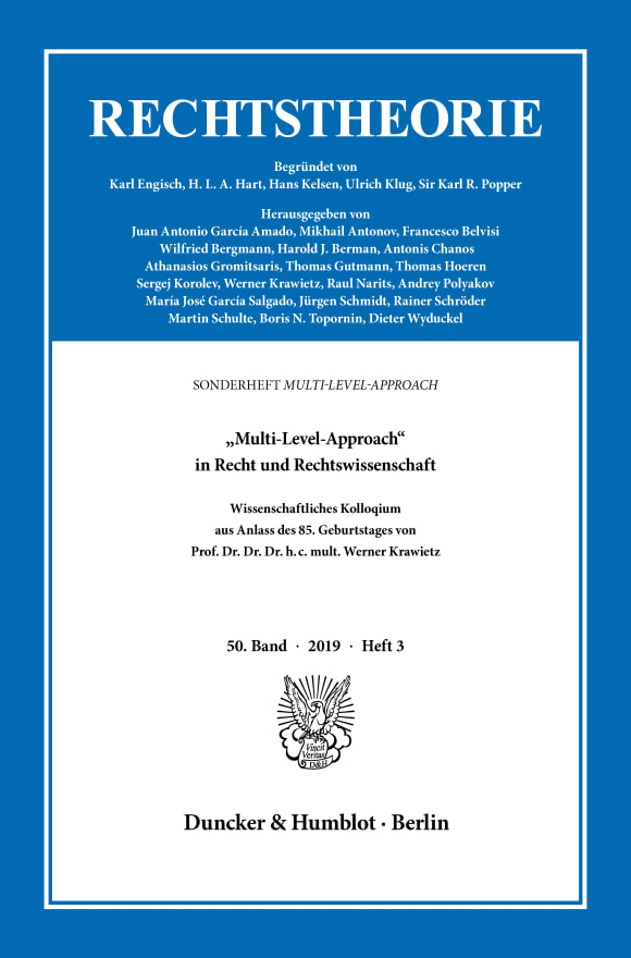 Cover »Multi-Level-Approach« in Recht und Rechtswissenschaft (RT 3/2019)