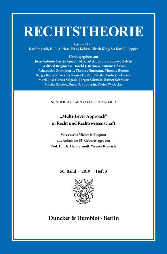 Cover »Multi-Level-Approach« in Recht und Rechtswissenschaft (RT 3/2019)