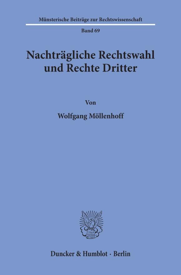 Cover Nachträgliche Rechtswahl und Rechte Dritter