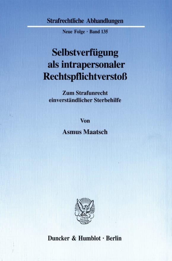 Cover Selbstverfügung als intrapersonaler Rechtspflichtverstoß