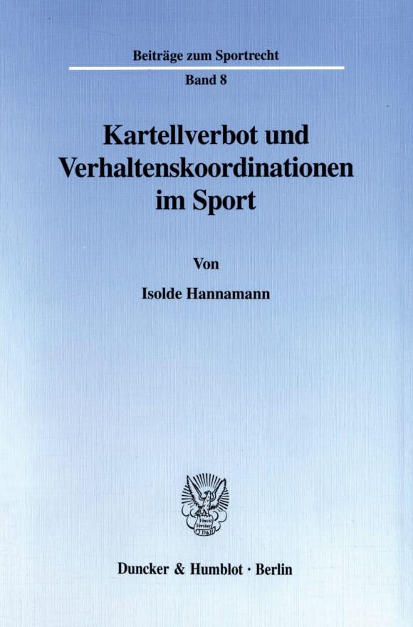 Cover Kartellverbot und Verhaltenskoordinationen im Sport