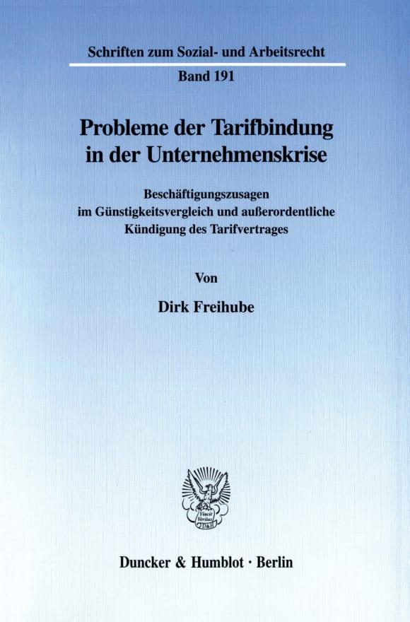 Cover Probleme der Tarifbindung in der Unternehmenskrise