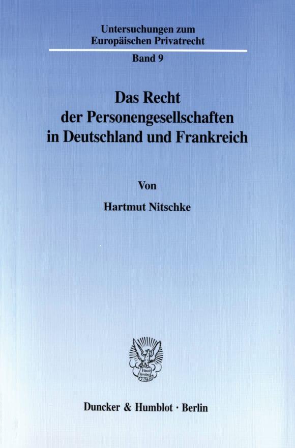 Cover Das Recht der Personengesellschaften in Deutschland und Frankreich