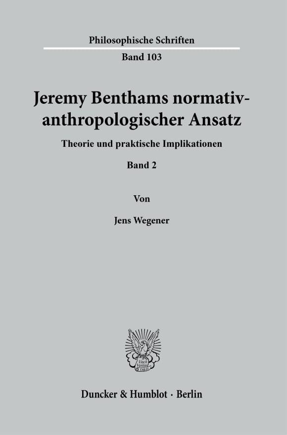 Cover Jeremy Benthams normativ-anthropologischer Ansatz