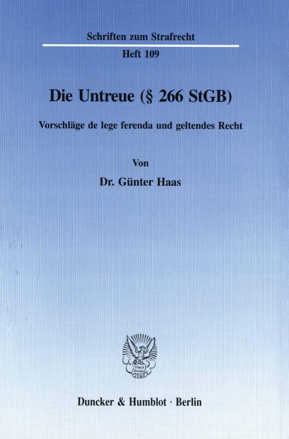 Cover Die Untreue (§ 266 StGB)