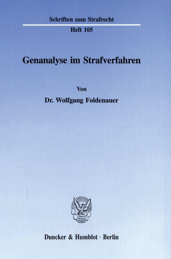 Cover Genanalyse im Strafverfahren