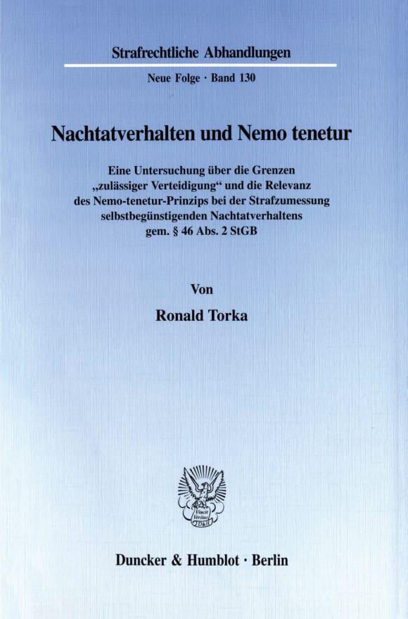 Cover Nachtatverhalten und Nemo tenetur
