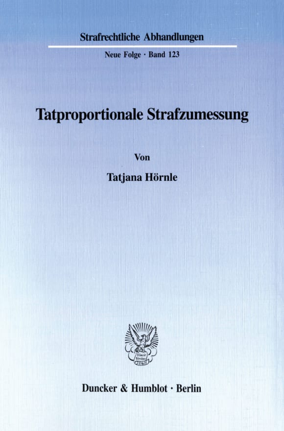Cover Tatproportionale Strafzumessung